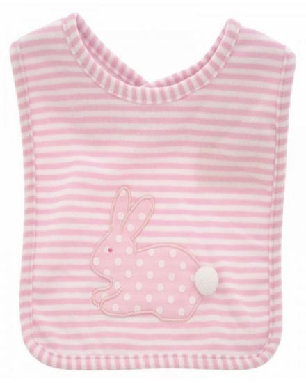 Bib-AlimRose Design-Bunny Applique Pink White Spot Stripe-N7907AP.jpg